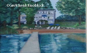 painting of a house in traverse city, cottage painting