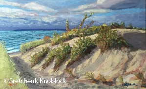 path through the dunes healing painting at Cowell Family Cancer Center in Traverse City
