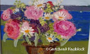 peony and daisy painting with west bay view