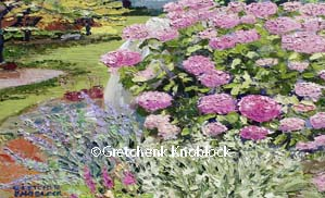 hydrangeas along a path painting