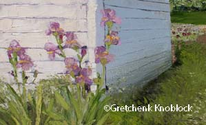 lavendar irises at the Iris Farm near Traverse City painting